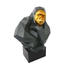 Pondering Ape Large Sculpture - Grey and Gold