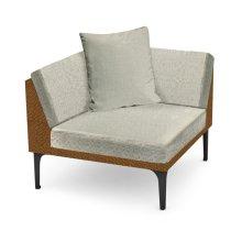 "36"" Outdoor Tan Rattan Corner Sofa Sectional, Upholstered in Standard Outdoor Fabric"