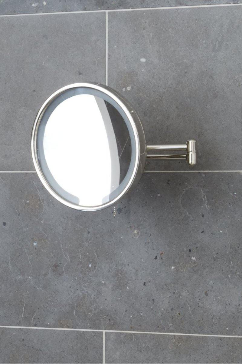 Waterworks Wall Mounted 9 3 16 Dia Magnifying And Illuminating Led Extension Mirror