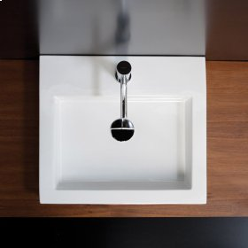 Vessel porcelain lavatory with an overflow.Finished back.One Faucet Hole *NEW IN BOX* 3x Available