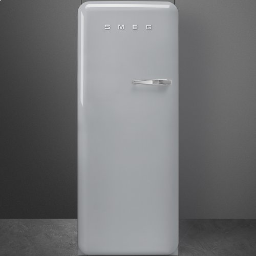"""Approx 24"""" 50'S Style Refrigerator with ice compartment, Silver, Left hand hinge"""