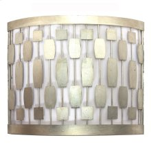 Silver Leaf Mid Century Motif Sconce With White Inner Shade Ul Approved for Two 40 Watt Candelabra Bulbs