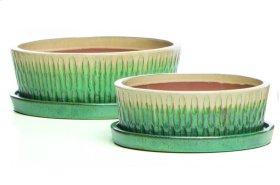 Tartain Bowl w/ saucer, Cream and Aqua - Set of 2