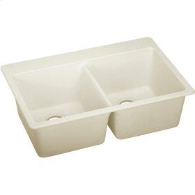 """Elkay Quartz Luxe 33"""" x 22"""" x 9-1/2"""", Equal Double Bowl Top Mount Sink, Parchment"""