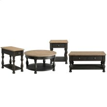 Barrington Two Tone - Round Coffee Table - Antique Oak/matte Black Finish