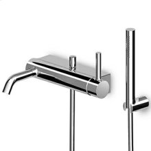 Exposed single lever bath-shower mixer with diverter, aerator, handshower set.