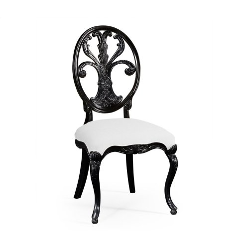 Black Painted Sheraton Style Oval Back Side Chair - COM