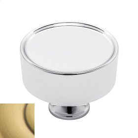 Satin Brass and Brown Hollywood Hills Cabinet Knob