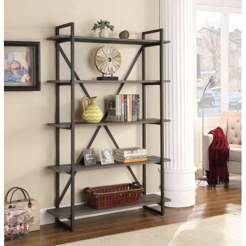 "Emerald Home Atari Bookshelf 48"" W/5 Shelves Black Frame, Brown Shelves Ac330-48"
