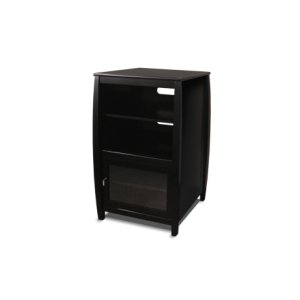 """Techcraft40"""" High Multimedia Tower, Solid Wood and Veneer In A Black Finish, Accommodates Up To 4 A/vs. Components"""