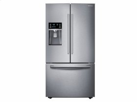 Samsung 4pc. Stainless Steel kitchen package with 23 cu.ft. counter depth French door refrigerator and slide-in double oven convection gas range