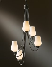 Chandelier: Flora vertical with five arms and glass options.