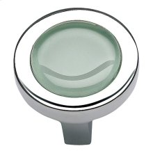 Spa Green Round Knob 1 1/4 Inch - Polished Chrome