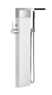 Single-lever tub mixer with cascade spout for freestanding installation with hand shower set - platinum