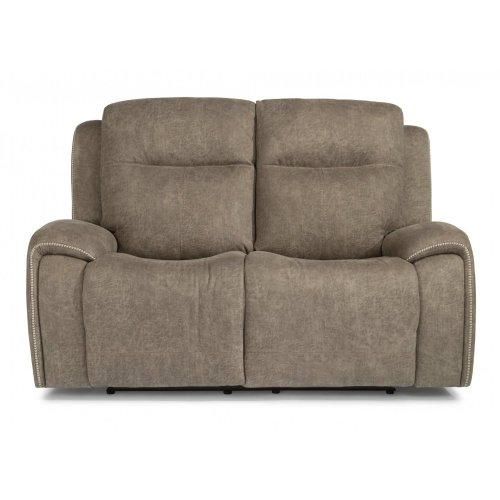 Solo Fabric Power Reclining Loveseat with Power Headrests