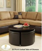 Round Gas-lift Coffee Table/Dinette Table with 4 Ottomans. Product Image