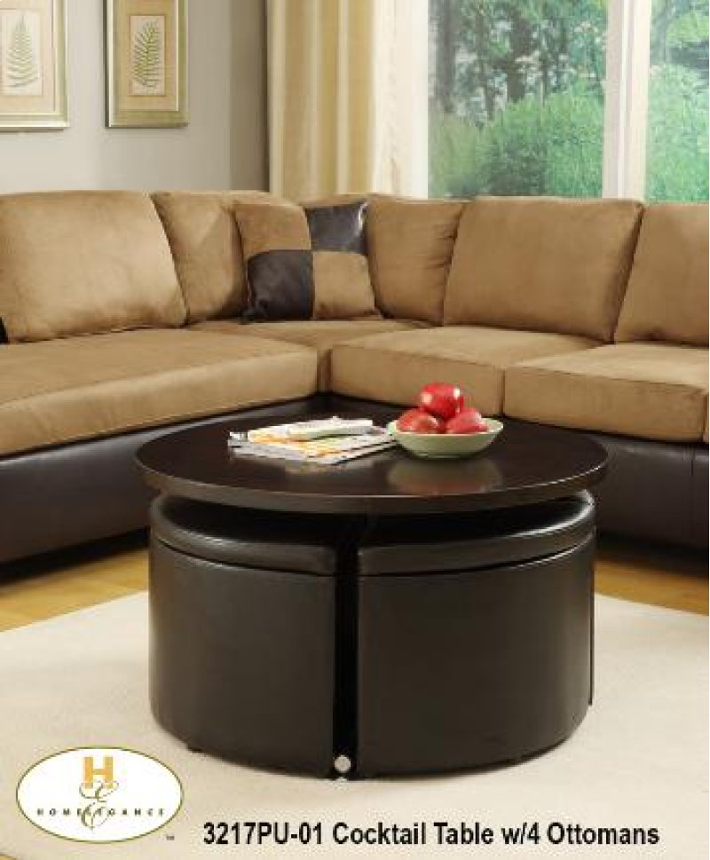 Round Gas Lift Coffee Table Dinette With 4 Ottomans