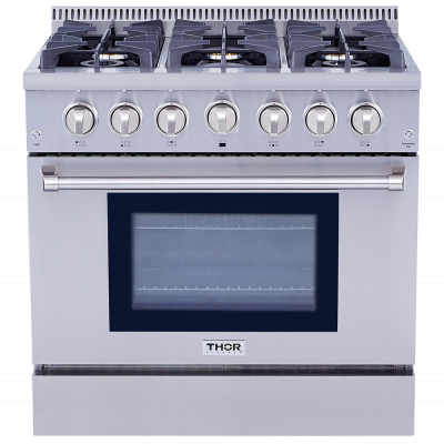 "Thor Kitchen36"" Pro-Style 6 Stainless Steel Burner Gas Range"