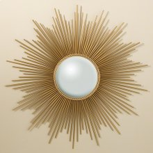 Sunburst Mirror w/Security HDWE-Gold
