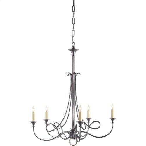 Visual Comfort SC5015AS Eric Cohler Twist 5 Light 26 inch Antique Silver Chandelier Ceiling Light
