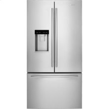 """72"""" Counter-Depth French Door Refrigerator with Obsidian Interior, Euro-Style Stainless Handle"""