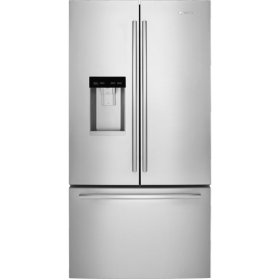 """72"""" Counter-Depth French Door Refrigerator with Obsidian Interior, Euro-Style Stainless"""