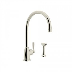 """Polished Nickel Perrin & Rowe Holborn Single Hole Kitchen Faucet With """"C"""" Spout And Sidespray with Contemporary Metal Lever"""