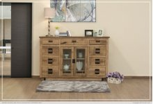 Solid Mango Wood Console w/ 2 glass doors w/ 9 Drawers & 5 Bottle Holder Shelves