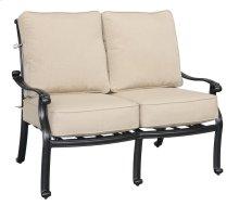 Emerald Home Versailles Loveseat-sunbrella Beige Cushions-onyx Cast Aluminum Frame-ou1045-01-1-05