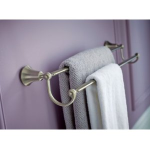 "Wynford brushed nickel 24"" double towel bar"