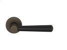 Tube Stitch Incombination Leather Door Lever In Black And Vintange Patina Product Image