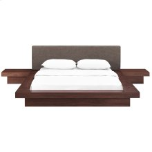 Freja 3 Piece Queen Fabric Bedroom Set in Walnut Brown