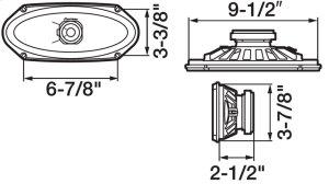 "4"" x 10"" 2-Way Rear Deck Mount Speaker with 120 Watts Maximum Power"