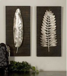 Silver Leaves Metal Wall Panels, S/2