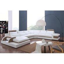 Divani Casa 0919 Modern White & Latte Leather Sectional Sofa