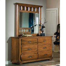 Vertical Mirror With Turned Log Motif and Double Dresser