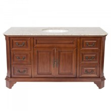 60 inches Width Single Vanity - Brown Finish