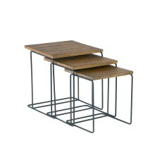 Salvage Traverse Wood Top Nesting Tables - Set/3