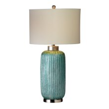 Oversized Ribbed Metallic Aqua Table Lamp. 100W Max. 3 Way Switch.