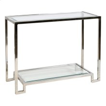 Nickel Plated Console With Beveled Glass Shelves.