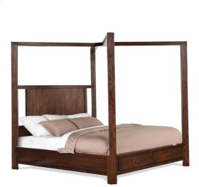 Riata California King Poster Bed Canopy Warm Walnut finish