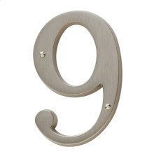 Satin Nickel House Number - 9