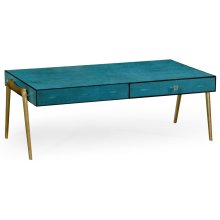 Teal Faux Shagreen and Brass Legged Coffee Table