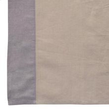 Harlow Gry Tab Top 42x84 55%cotton/45% Linen NATURAL W/ GREY BORDER