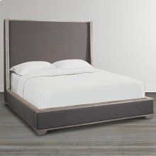 King/Northern Grey Compass Upholstered Shelter Bed