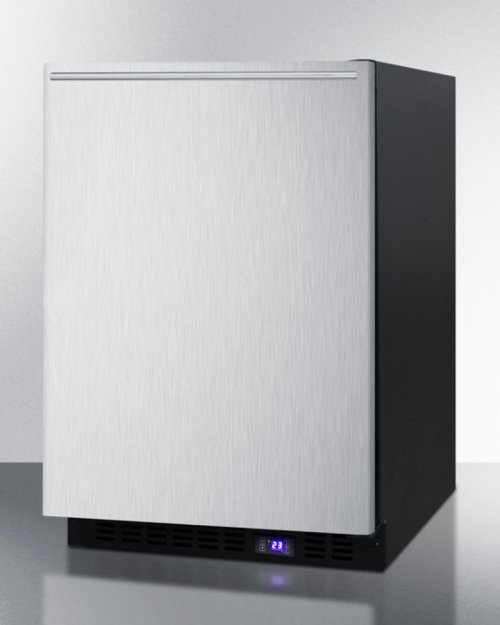 Frost-free Built-in Undercounter All-freezer for Residential or Commercial Use, With Stainless Steel Door, Horizontal Handle, and Black Cabinet