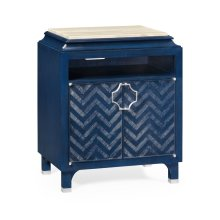 Antique Blue Oak Nightstand with Marble Top
