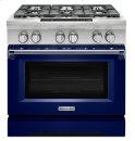 KitchenAid® 36-Inch 6-Burner Dual Fuel Freestanding Range, Commercial-Style - Cobalt Blue