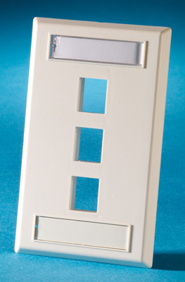 Single gang plastic faceplate, holds three Keystone jacks or modules, Wiremold Ivory