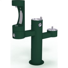 Elkay Outdoor EZH2O Bottle Filling Station Tri-Level Pedestal, Non-Filtered Non-Refrigerated Evergreen